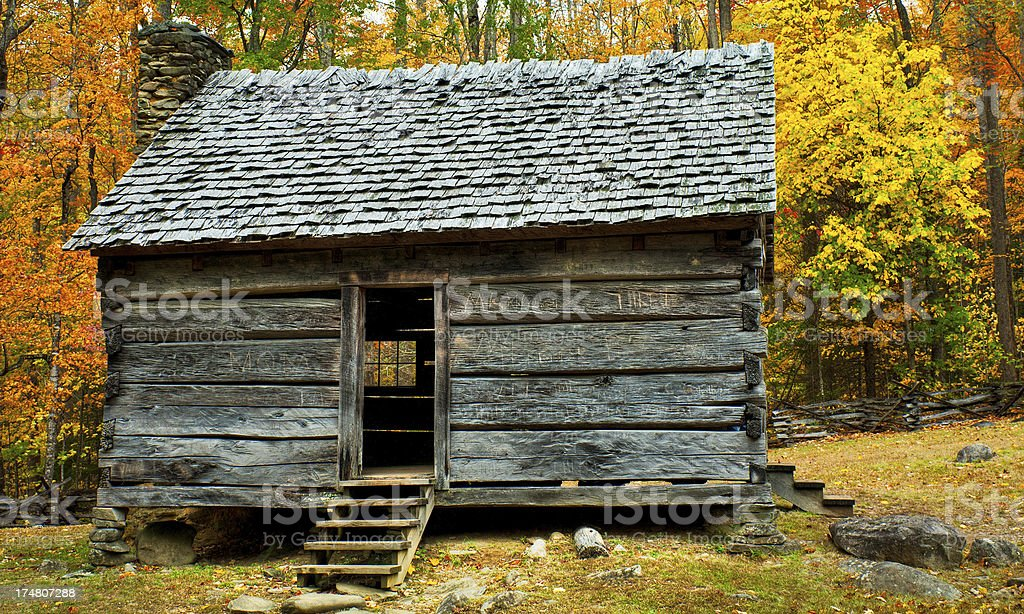 Cabin, Roaring Fork, Great Smoky Mountains, Gatlinburg, Tennessee, USA stock photo