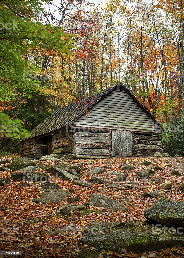 Cabin, Roaring Fork Motor Trail, Great Smoky Mountains, Gatlinburg, Tennessee stock photo
