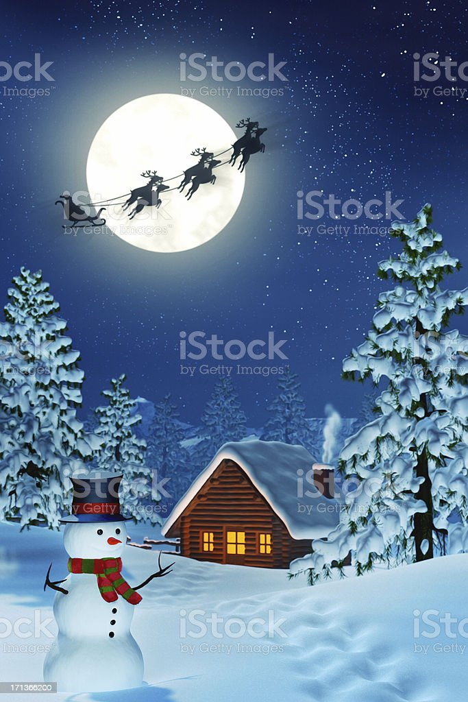 Cabin, snowman and Santa in moonlit winter landscape at night royalty-free stock photo