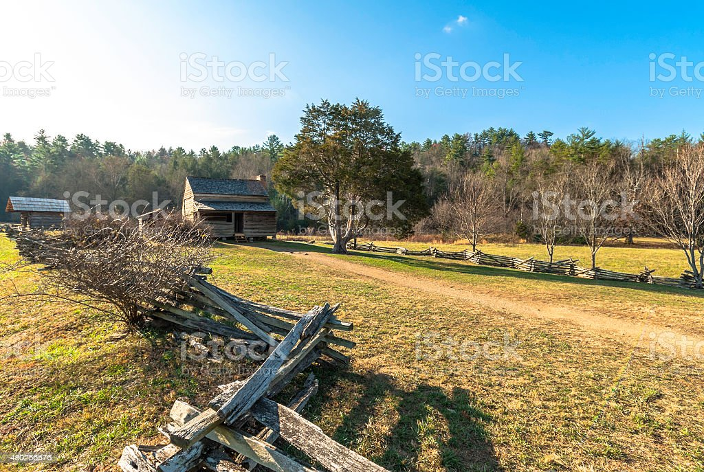 Cabin & Wooden Fence At Cades Cove stock photo