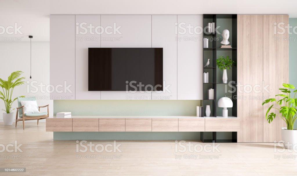 Tvschrank und display mit holzboden und pastell grünen wand