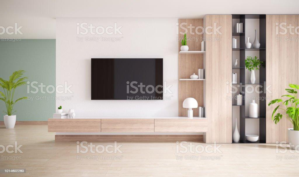 Tvschrank und display mit holzboden und weiße wand minimalistisch