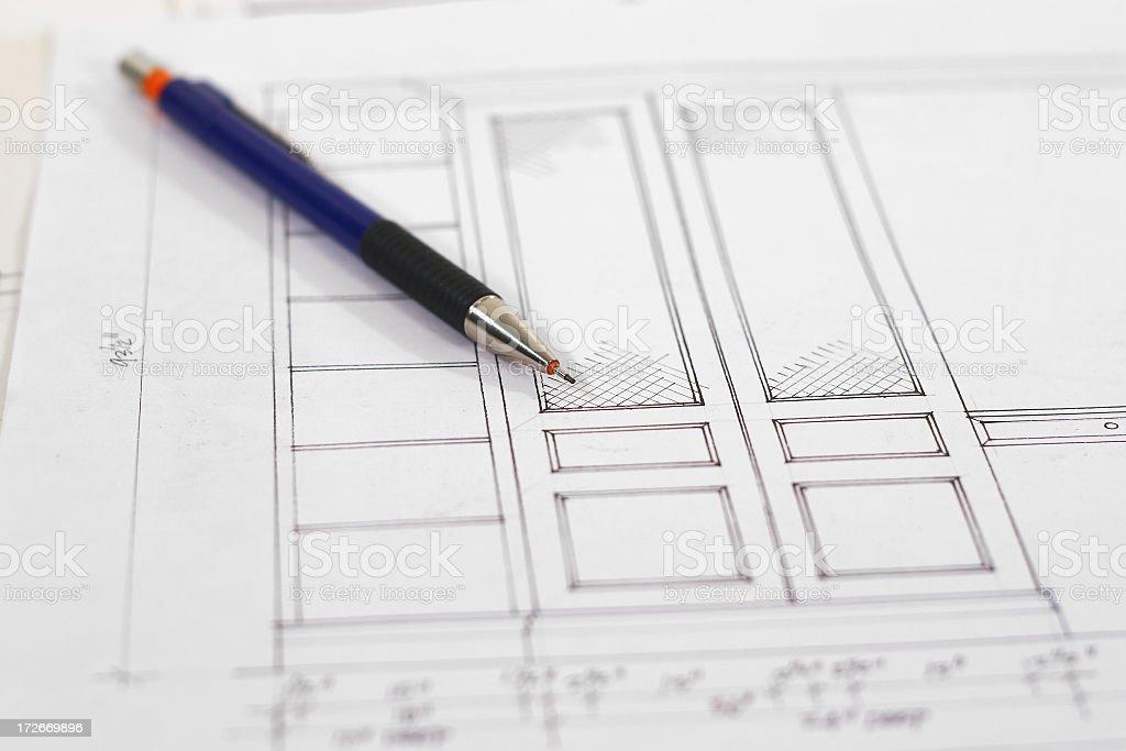 Cabinet Blueprints 3 stock photo