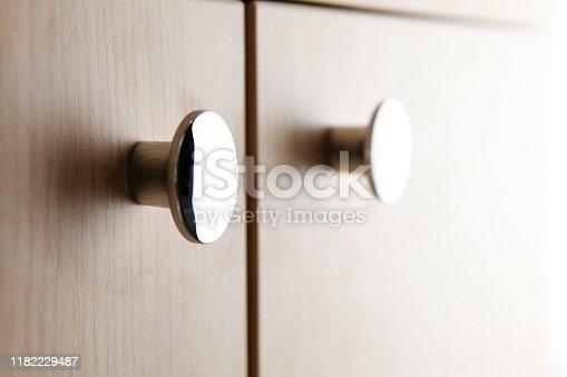 Close up of a cabinet door knob
