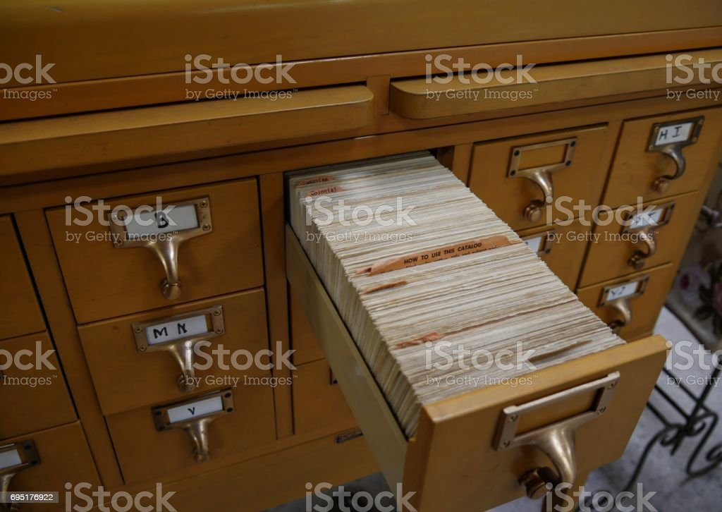 Cabinet for library file catalogue system stock photo