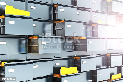 Cabinet For Storing Documents With Yellow Folders In An Open Box 3d Illustration Stock Photo & More Pictures of Antique