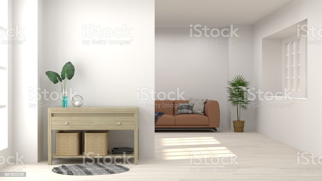 Cabinet In Living Room Interior Background,3D Rendering And Sofa On Empty  Wall And Ornamental
