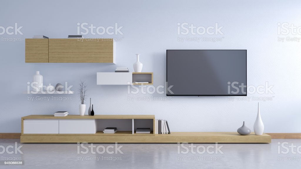 TV cabinet , modern interior of living room design and Cozy Living style  ,3d illustration stock photo