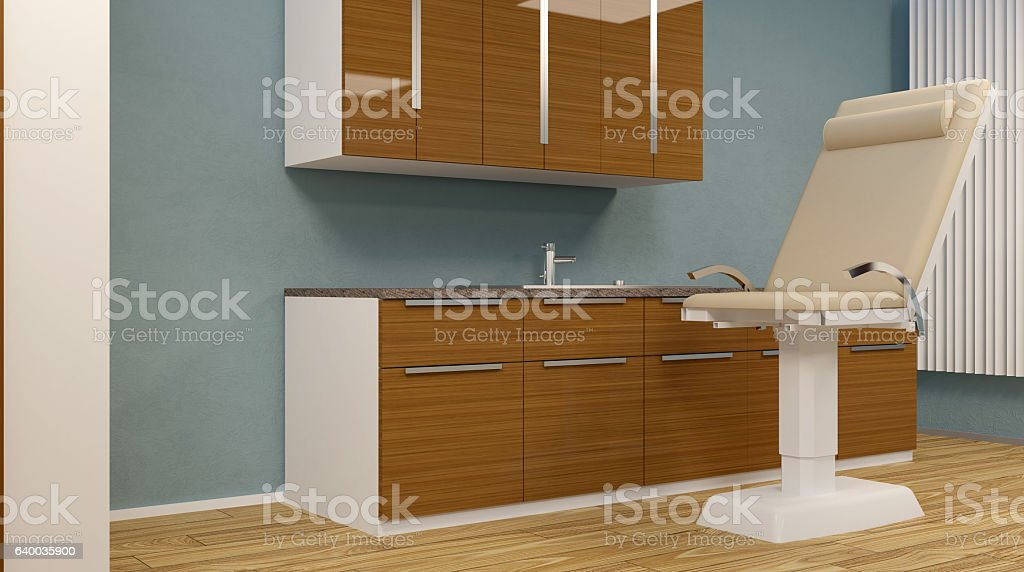 Cabinet ophthalmologist at school. 3D rendering stock photo