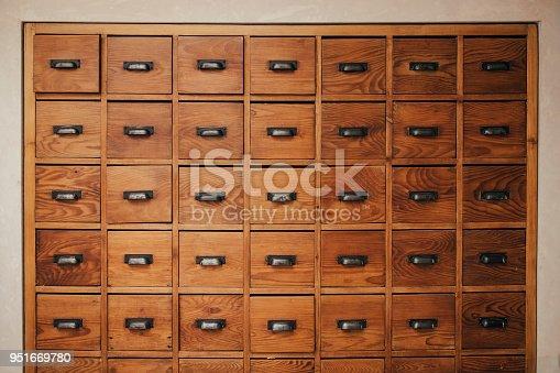 A bank of ancient draws
