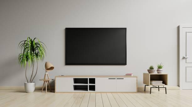 tv-schrank schrank in moderne wohnzimmer - zimmer bildschirm stock-fotos und bilder
