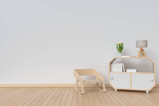 schrank mit pflanzen- und stuhl vor einem hintergrund - dielenkommoden stock-fotos und bilder