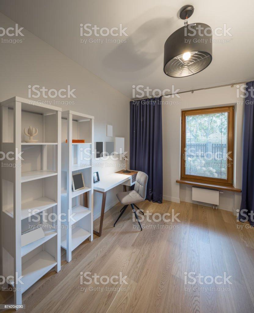 Schrank Arbeitszimmer Schreibtisch Interieur Und Design Stockfoto