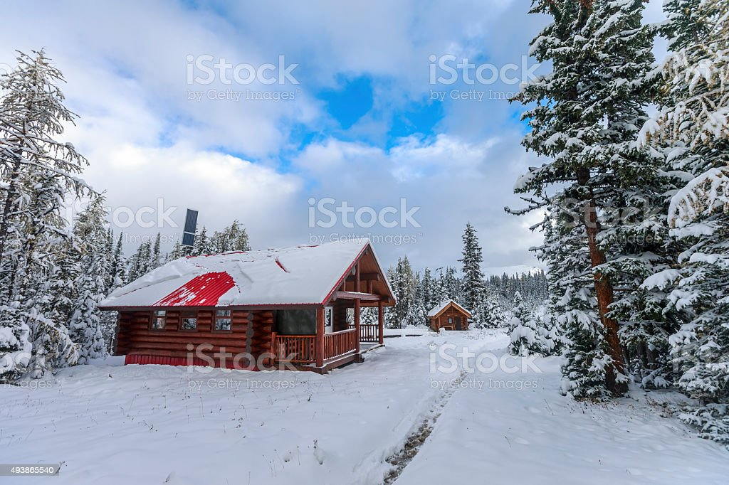 Cabins and Snow at Mount Assiniboine Provincial Park, Canada. stock photo