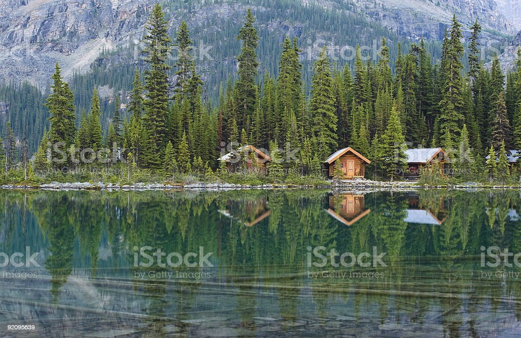 Cabins On Lake Water Reflection royalty-free stock photo