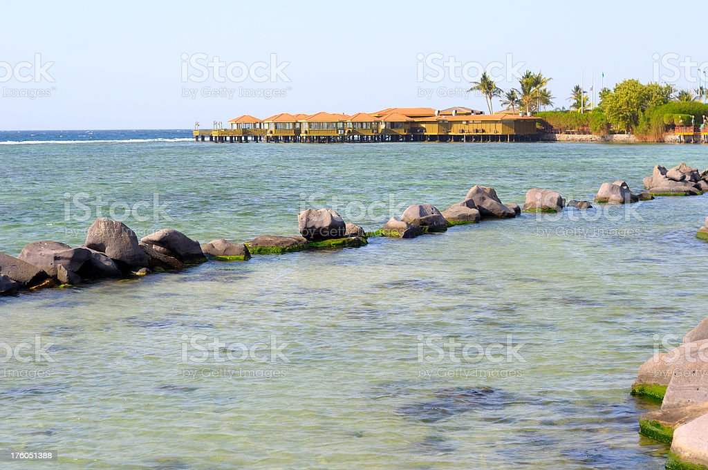 Cabins on Red Sea stock photo