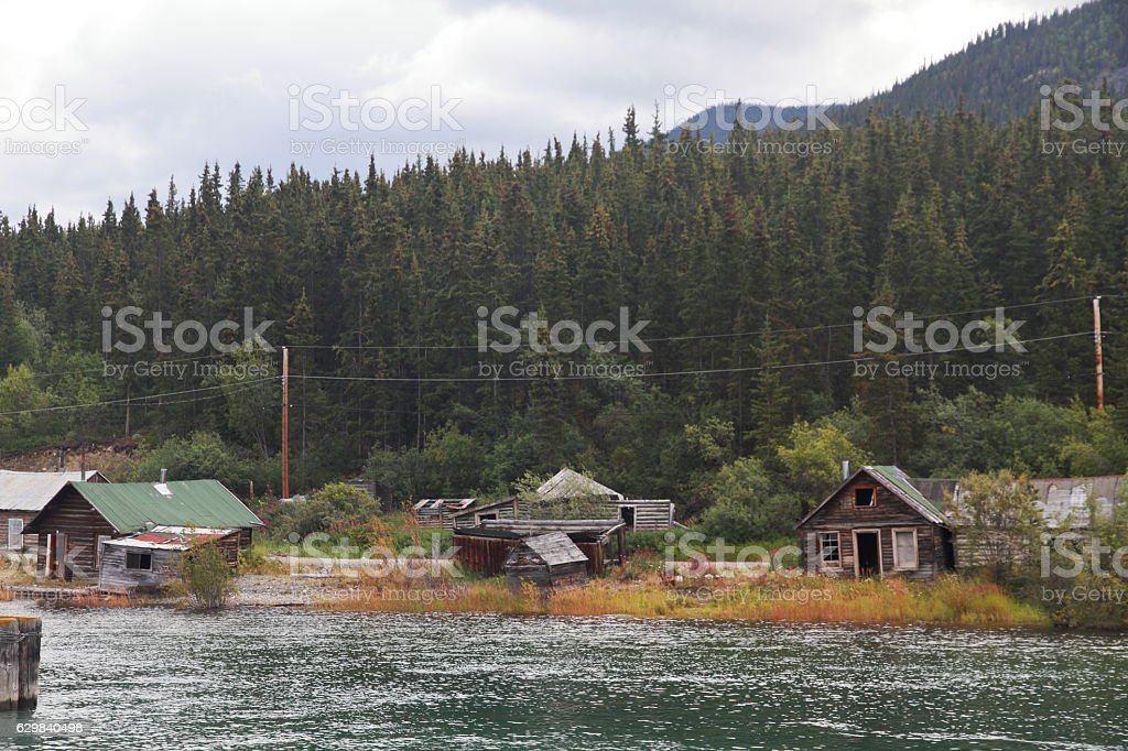 Cabins on the lake - Carcross - Yukon - Canada stock photo