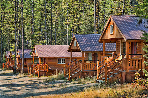 cabins - going to the sun road stock pictures, royalty-free photos & images