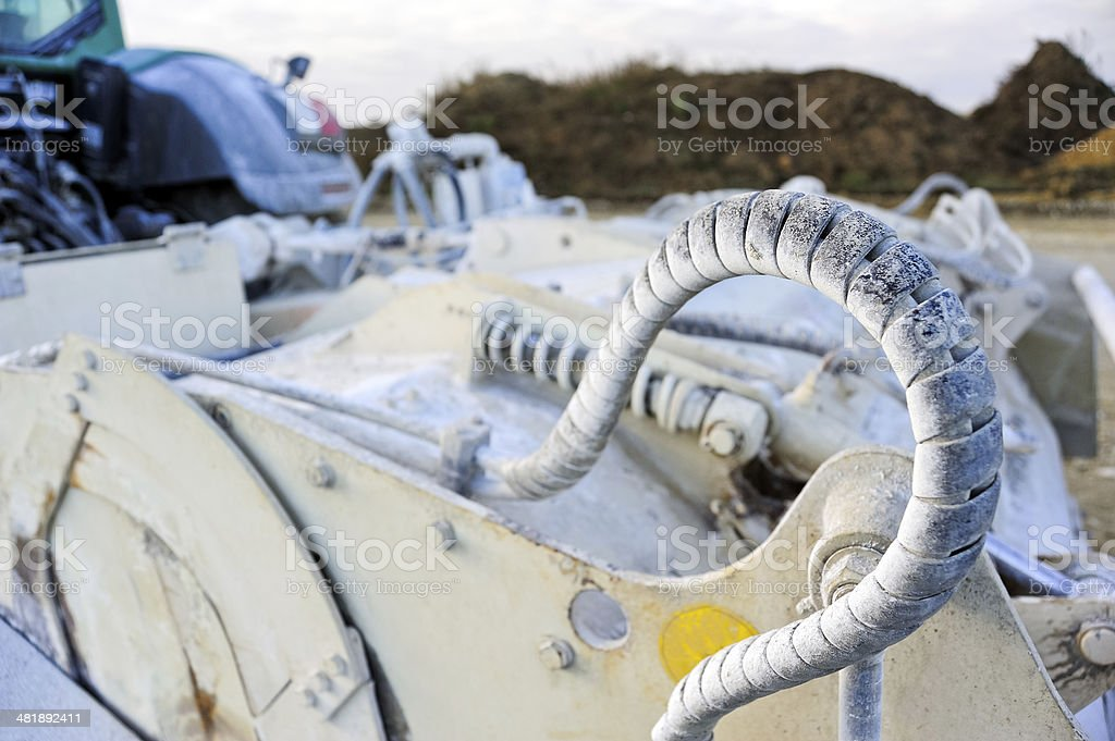 Cable at a construction machine stock photo