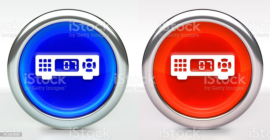 Cable Box Icon on Button with Metallic Rim stock photo