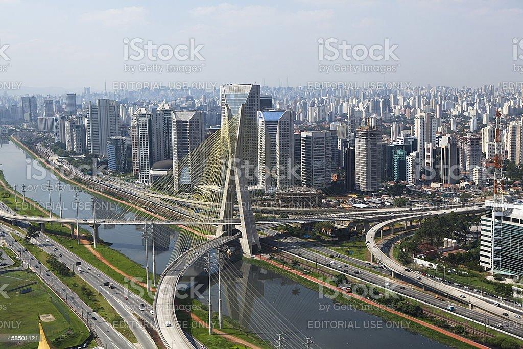 Cable bridge in Sao Paulo, Brazil royalty-free stock photo