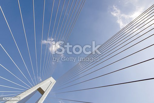 156725382 istock photo Cable bridge view of the sky blue 470306940