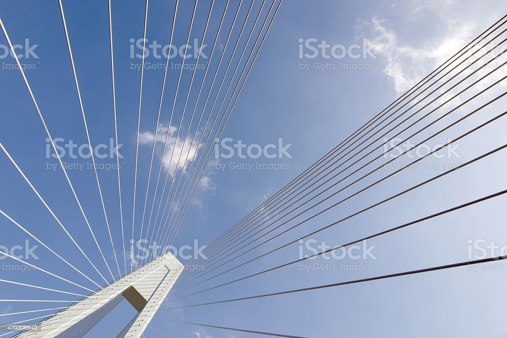 Cable bridge view of the sky blue stock photo