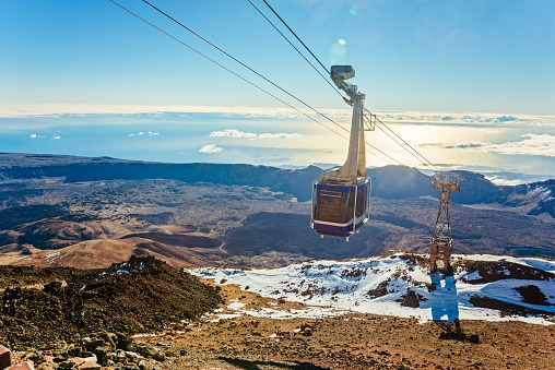 Cable cabin car on the top of volcano Teide