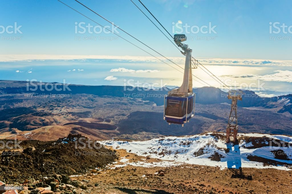 Cable cabin car on the top of volcano Teide stock photo