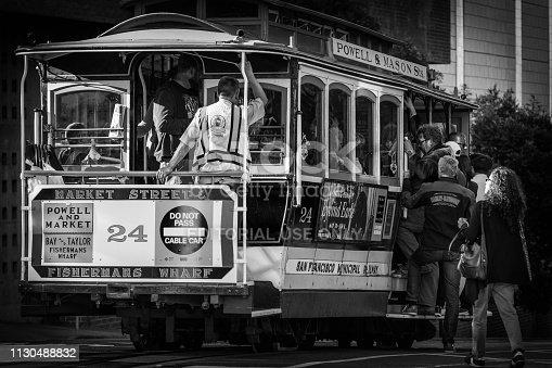 San Francisco, California - October 05 2017: Passengers getting onto Cable Car 24 in San Francisco, California.
