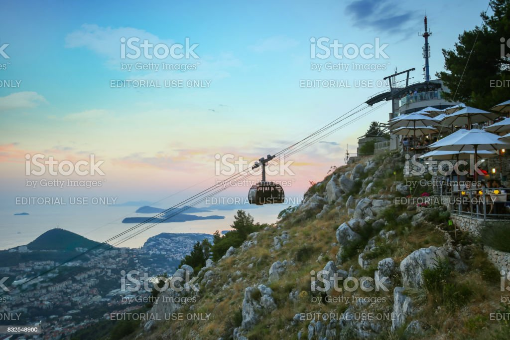 Cable car above Dubrovnik stock photo