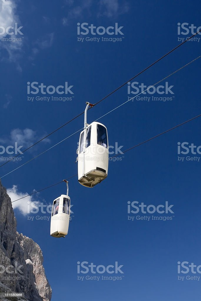 Cable car and blue sky royalty-free stock photo