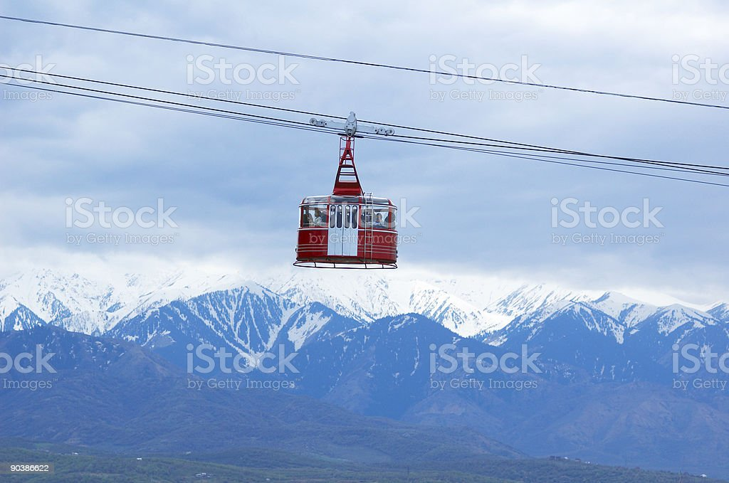 Cable car and high mountain royalty-free stock photo