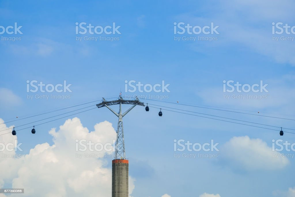 Cable car and strong looking cable car pole under bright blue sky and cloud background. stock photo