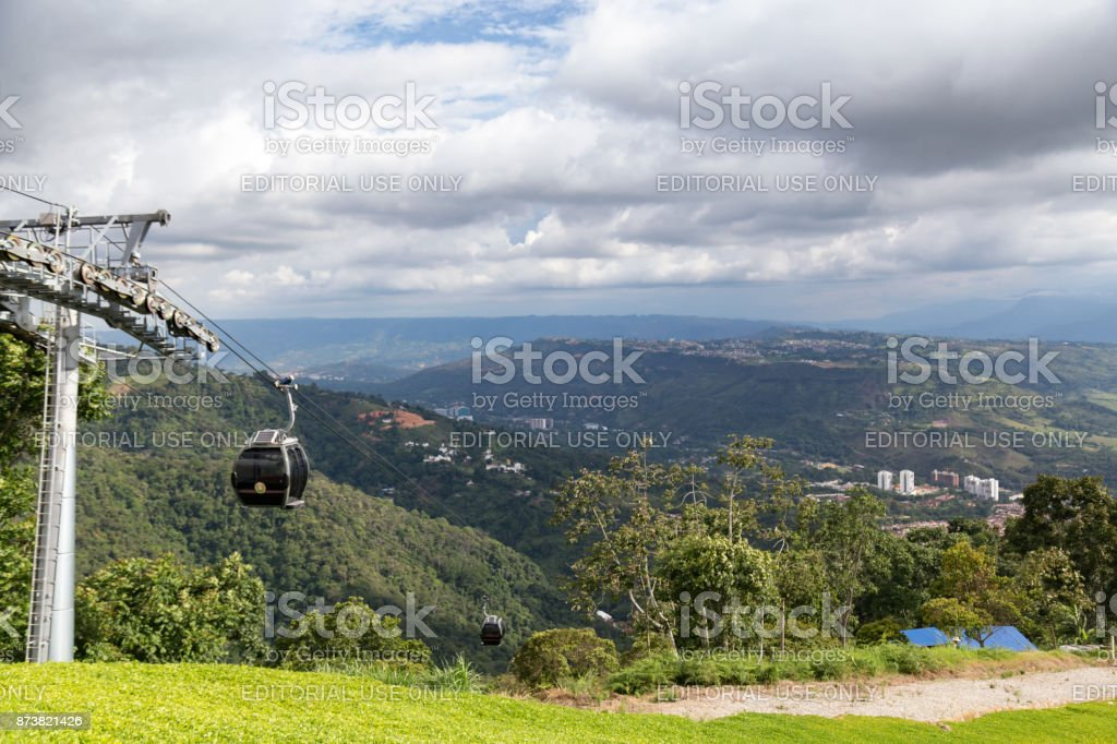 Cable car and view stock photo