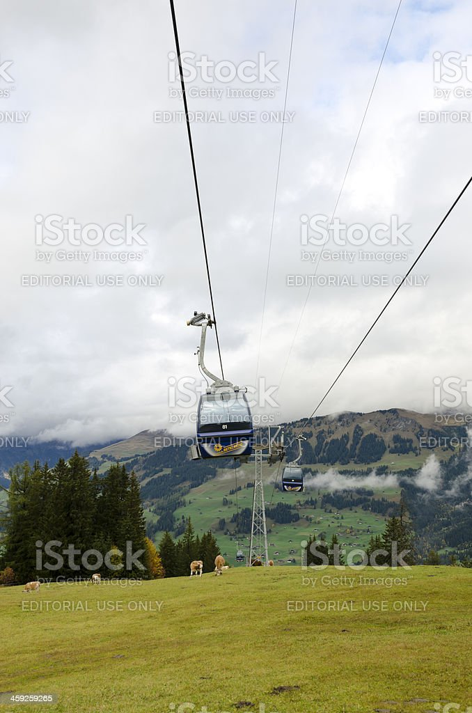 Cable car ascending to Betelberg in Lenk Switzerland. royalty-free stock photo