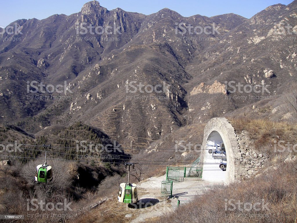 Cable car at Great Wall Of China royalty-free stock photo