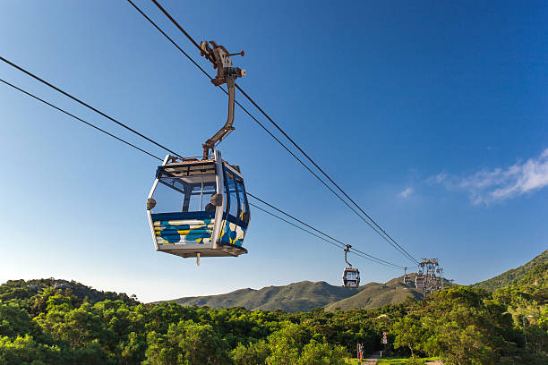 Cable Car at mountains Cable Car way to mountains new territories stock pictures, royalty-free photos & images