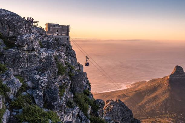 cable car at night - table mountain national park stock pictures, royalty-free photos & images
