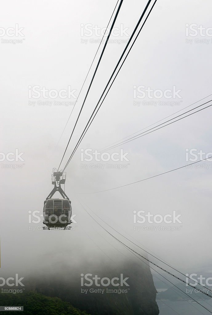 Cable Car at Pão de Açúcar in a fog royalty-free stock photo