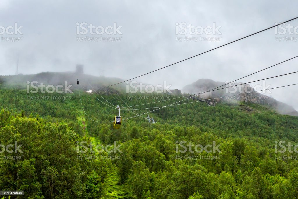 Cable car cabins going up and down in Tromso stock photo