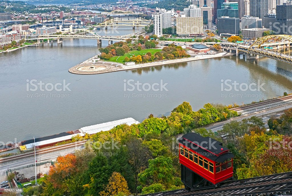 Cable car climbing incline in Pittsburgh PA stock photo