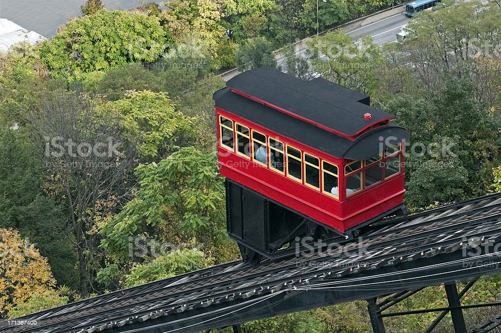 Cable car climbing incline in Pittsburgh stock photo