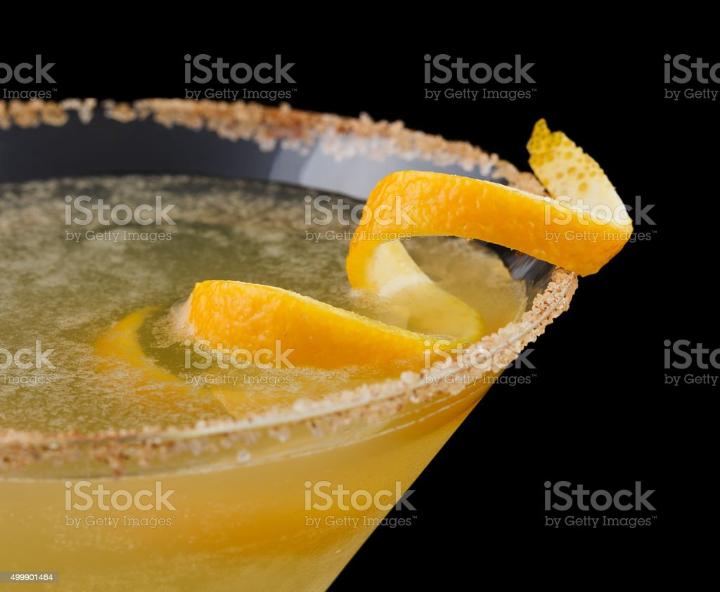 Cable Car cocktail isolated on black background stock photo
