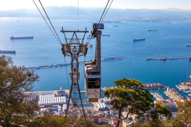 Cable car Gibraltar GIBRALTAR, BRITISH OVERSEAS TERRITORY - NOVEMBER 16, 2017: Cable car arriving at the top of the rock of Gibraltar where tourists can enjoy the panoramic view over the bay and the coast of Spain. alameda california stock pictures, royalty-free photos & images