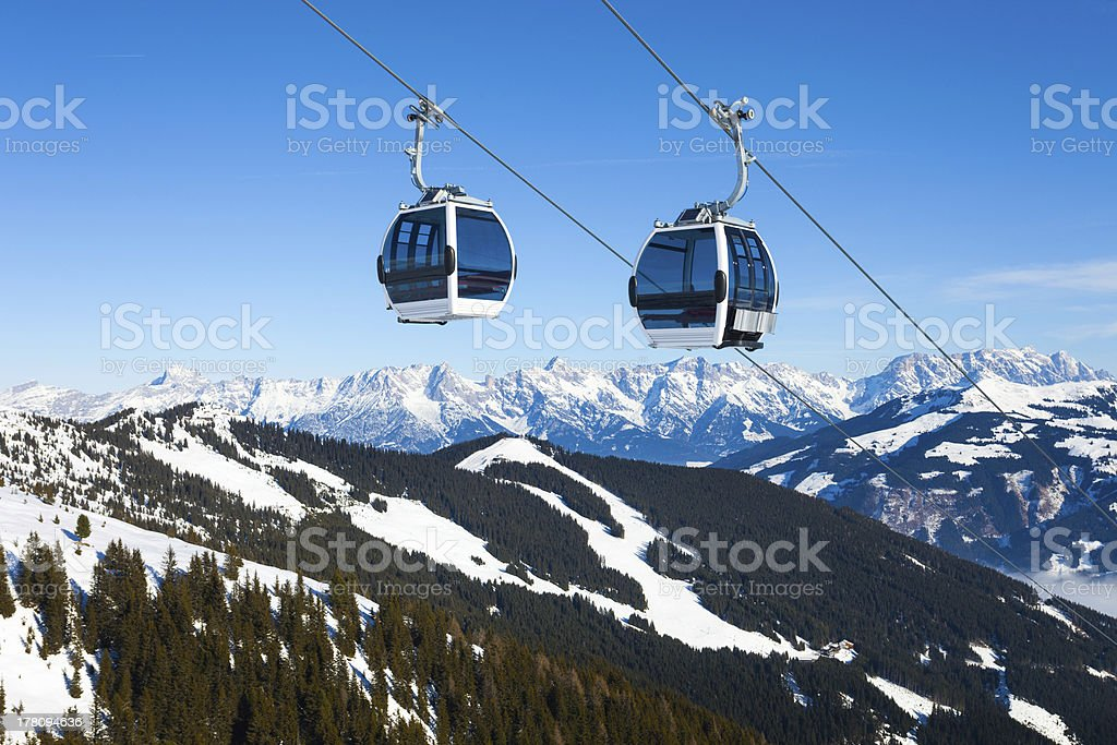Cable car going to Schmitten stock photo