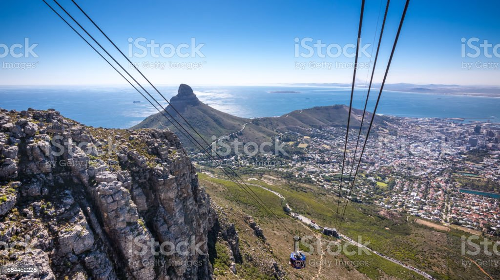 Cable car going up Table Mountain in Cape Town stock photo