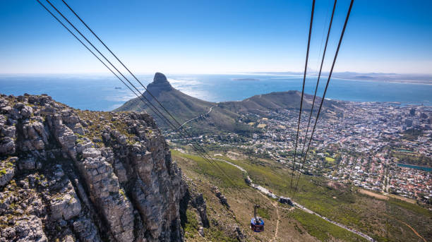 cable car going up table mountain in cape town - cape peninsula stock pictures, royalty-free photos & images