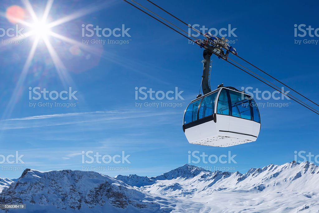 cable car in a mountain area stock photo
