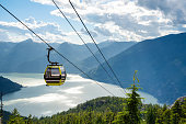 Empty Cable Car with a Magnificent Sea and Mountain Scenery in Background on a Sunny Summer Evening. Squamish, BC, Canada